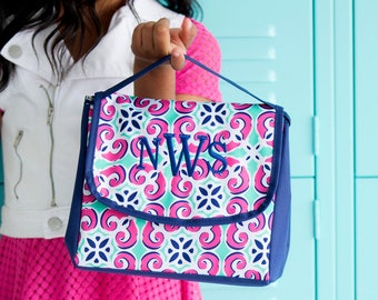 Personalized Lunch Bag, Lunch Tote, Pink and Navy Blue Lunch Bag,