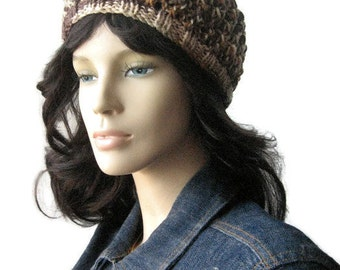 Knit Multi Brown Hat, Brown Beige Lace Beanie, Vegan Beanie, Womens Hat, The Leslie Beanie, Spring Fashion, Caramel Beige Hat, Knitted Hat