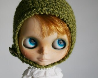 Blythe Gnome Helmet Pixie Hat - Glass Cabochon Dome Button Butterfly Bamboo Green Wool