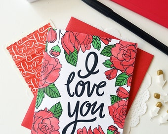 I love you, You are my favorite, Valentine, Hand lettered, roses, I heart you, Folded Note Cards, Valentine's Day, Stationery, watercolor