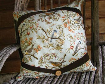 Bird Pillow, Bird Decor,Bird Cushion, Bird Gifts, Ultra Suede Trim, Hidden Zipper, Fully Lined, Eco-Friendly, Nature Theme