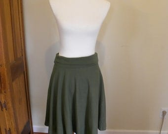 Sale Green Small Organic Cotton Womens Semi Circle Skirt- Made in the USA