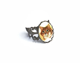 Meow! Kitty Cameo Ring, Adjustable Filigree Novelty Ring, Cat Jewelry