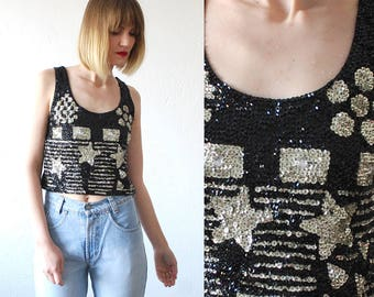 80s 90s sequin top. bejeweled crop top. black and silver tank top - small to medium