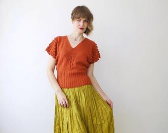 70s knit top. feminine v neck top. burnt orange top. knit summer top - xs, small