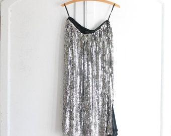 80s vintage silver sequin maxi skirt on silk