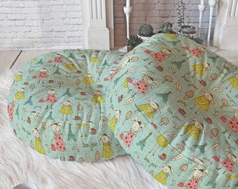 Whimsical Floor Pillow // Round & Square // Nursery Decor // French Bunnies // Home Decor // Floor Cushion // Bonjour Lapin Design // Aqua