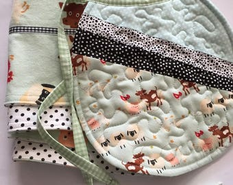 Flannel burp cloths and bib set, flannel burp cloths, quilted baby bib, baby gift set, burp cloth set, bib and burp cloth set, newborn gift