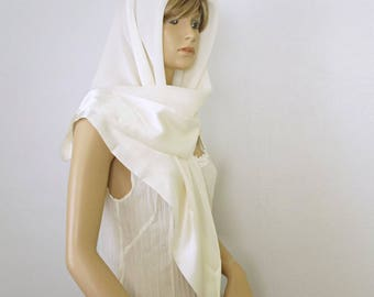 Chiffon Satin Scarf Vintage Beige Square Large Scarf Chiffon Satin Trim Babuska Shawl Scarf