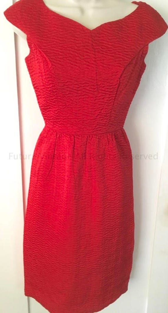 1960s Stunning GAY GIBSON Red Wiggle Sheath Cocktail Dress-XS