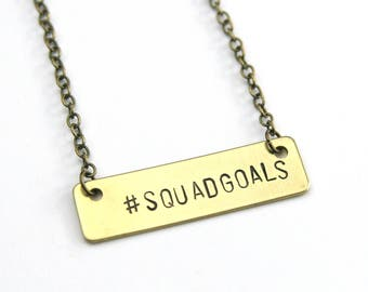 Squad Goals Bar Necklace | Bachelorette Party Gifts | My Tribe Necklace | Wedding Party Squad Goals Gear | Bridesmaid Gifts | Wedding Gifts