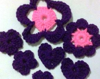 Destash - Grab bag 3, Flowers, Appliques, Embellishments, Acryllic, Crochet Flowers,