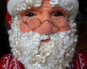 Santa Claus Needle Felted Bust - Life Size Father Christmas One of a kind Soft Sculpture by Bella McBride