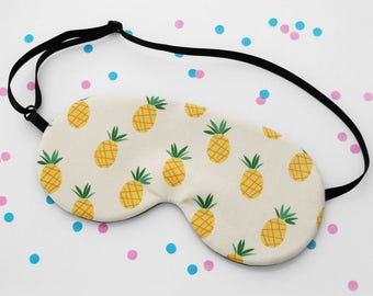 Pineapple Sleep Mask, Tropical Eye Mask, Fruit Fabric, Silk Back