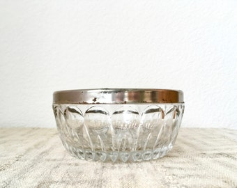 Vintage Cut Glass Bowl With Silver Rim