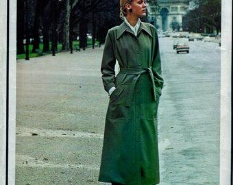 1970's Vogue Paris Original Pattern 2409 by Yves Saint Laurent * Beautiful  Misses' Midi Coat, Blouse, and Pants  * Size 10, bust 32.5