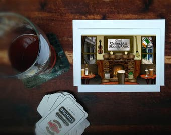Happy Birthday card,Irish language,blank inside,frameable art print,Irish pub,pint of stout,beer,fiddle,hurley,cards for him
