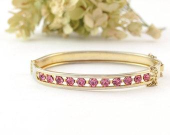 Vintage Pink Rhinestone Bracelet | Vintage Pink Gold Bangle Bracelet | Vintage Bangle