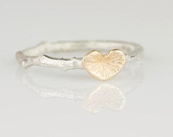 Delicate 14k Gold Begonia Leaf and Twig Ring - Hand Carved Solid 14k Gold Stacking Ring - Dainty and Botanical Jewelry