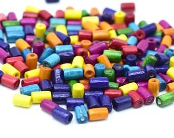 Wood Tube Beads,  9x5mm, Wood Beads,  Painted Beads,  1mm Hole, 400-500pcs -B761
