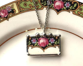 Broken china jewelry pendant necklace, antique pink rose with purple flowers, antique porcelain, made from a broken plate