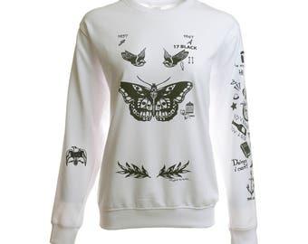 Harry Tattoos Sweatshirt Gray White Sweater Crew Neck Shirt – Size S M L XL
