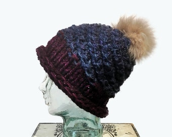 Blue and Purple Slouchy Hat with Pompom, Navy Blue Beanie with Fur Pompom, Metallic burgundy and blue Hat, Beanie with alpaca fur pom