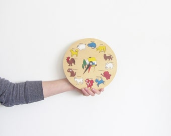 vintage wooden ANIMAL clock . kid room decor . squirrel o'clock .sale s a l e