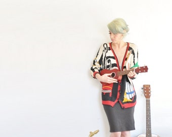 kitsch musician sweater cardigan . piano tambourine saxophone music lover .large.extra large.xl