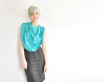 draped cowl neck dickie . floral teal blouse insert . faux business top .sale s a l e