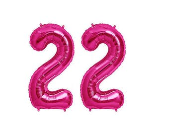 Pink LARGE 22 Balloon, 22nd Birthday, 22, Number 22, Pink Number 22, Number Balloons, Number Shapes, Pink Number 2, Pink 22,