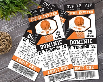 Basketball Ticket Invitation - Basketball Party, Basketball Birthday. Basketball Party, Ticket Invite | DIY Instant Download PDF Printable
