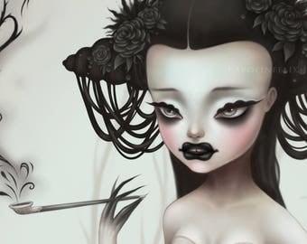 Black Widow Spider Woman Freak Show - signed 8x10 Fine Art Print - big eye girl art - lowbrow Pop Surrealism by KarolinFelix - open edition