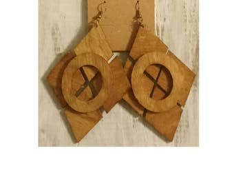 Wood Geometric Diamond Shaped Statement Afrocentric Ethnic Tribal African mPERFEKtion Earrings for Women by Crittique - #mPER68