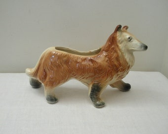 Vintage Large Collie Dog Planter - Lassie Planter