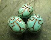 NEW TURQUOISE SCARABS. Czech Metallic Glass Beads . 18 mm (6 beads)