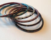 Cloisonne Bangles Set of 6 Red Turquoise White Pink Dark Blue Black