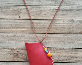 Handmade leather pouch recycled leather amulet bag Native American inspired medicine bag leather jewelry soft red leather necklace OOAK