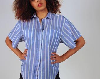 Vintage Striped Blue Button Up