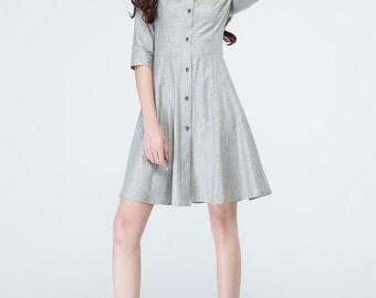 light grey dress, shirt dress, linen dress, summer dress, casual dresses, day dress, short dress, womens dresses, linen sundress 1694