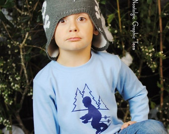 SALE Ski Slope for Boys by Nostalgic Graphic Tee in Sky Blue with Navy Ink