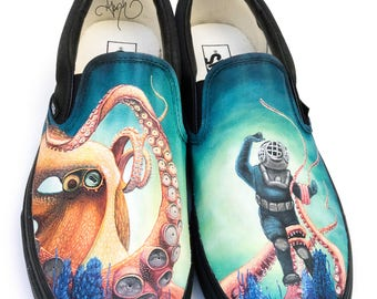 Custom Vans Shoes - Giant Octopus and Scuba Diver in Coral