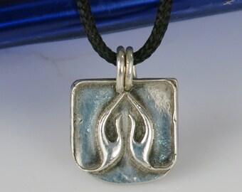 Namaste' Yoga Hands Symbol of Gratitude / Respect Fine Silver Pendant - Yoga Hands in Prayer Pendant - Fine Silver Pendant Gratitude Symbol