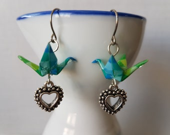 Origami earrings blue green pixel paper crane with silver charms eco-friendly jewelry