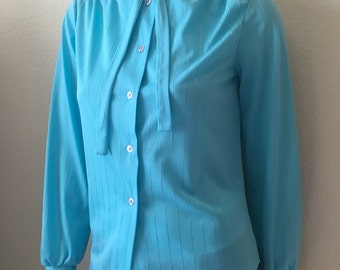 Vintage Women's 70's Bow Tie Blouse, Turquoise, Polyester, Long Sleeve (M)