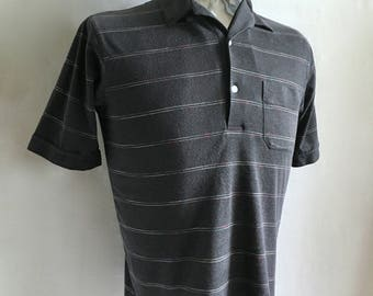 Vintage Men's 80's Polo Shirt, Gray, Striped, Short Sleeve by Tournament (S/M)