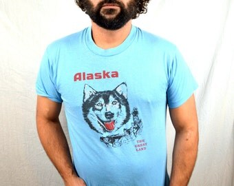 Vintage 1980s 80s Blue Alaska Tee Shirt Tshirt