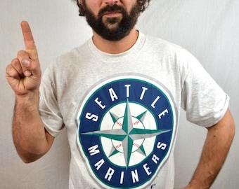 Vintage 90s Seattle Mariners MLB Tshirt Tee Shirt - Salem Sportswear