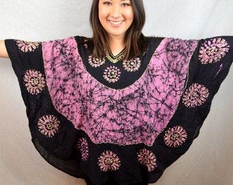 Vintage Ethnic Boho Batik Dashiki Caftan Tapestry Tunic Top Shirt