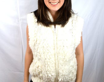 Vintage Fun Puffy Knit White Coat Jacket Sweater Vest